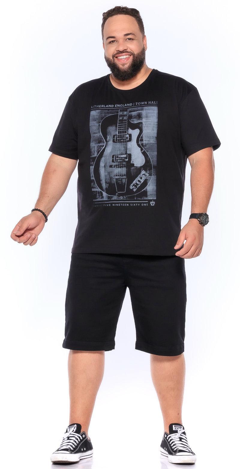 Camiseta plus size estampa Guitar Preta