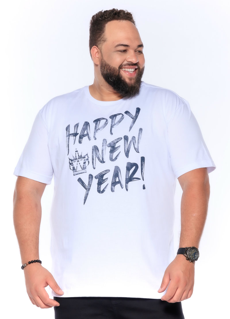 Camiseta plus size estampa Happy Branca