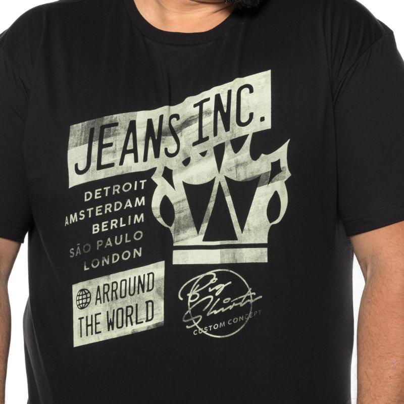 Camiseta plus size estampa Jeans Inc Preta