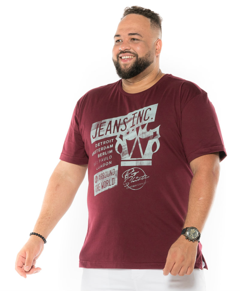 Camiseta plus size estampa Jeans Inc Vinho