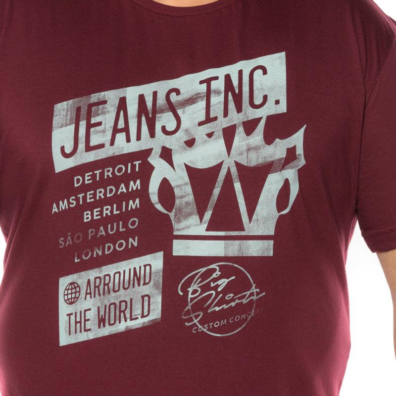 Camiseta plus size estampa Jeans Inc Vinho