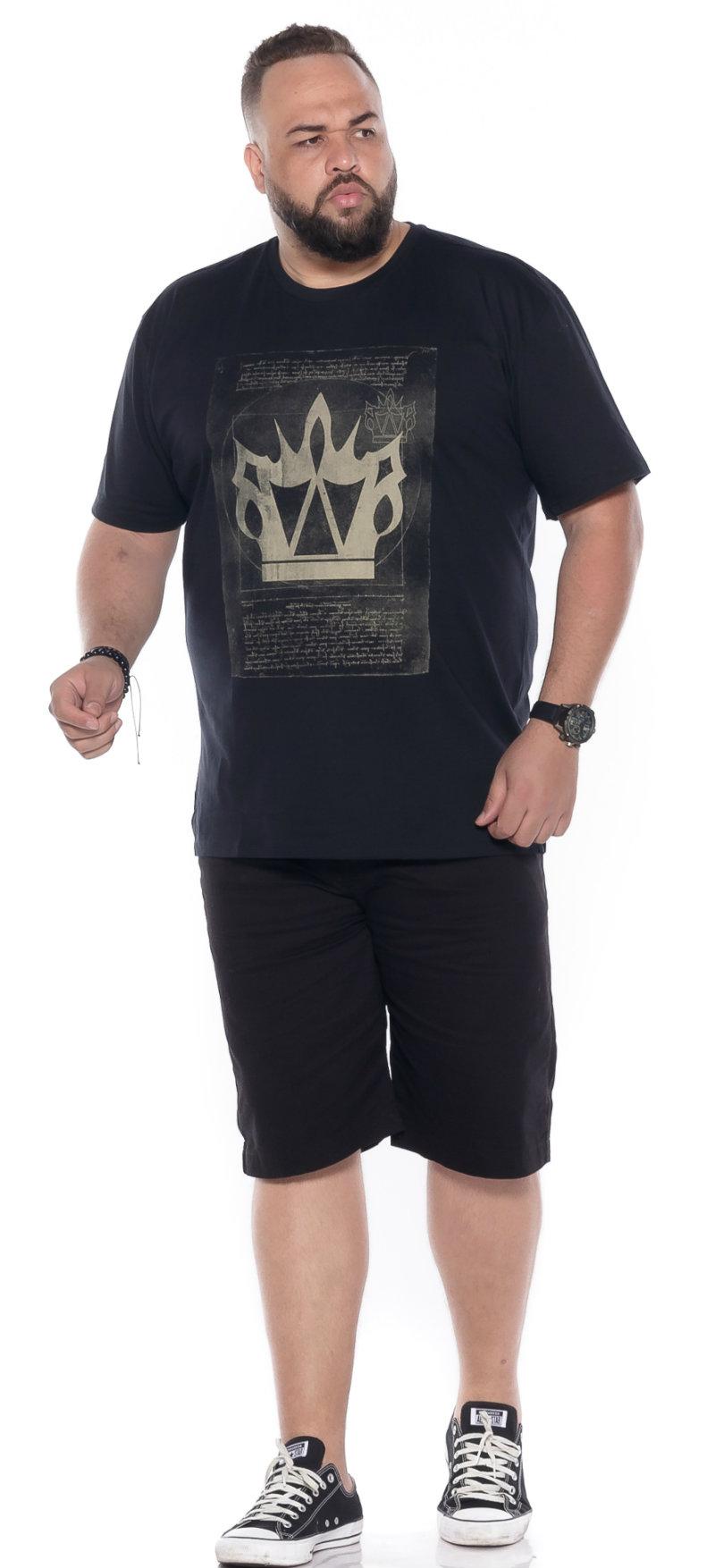 Camiseta plus size estampa Mapa Preta