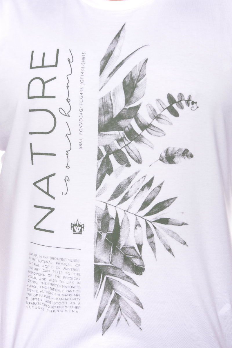 Camiseta plus size estampa New Nature Branca