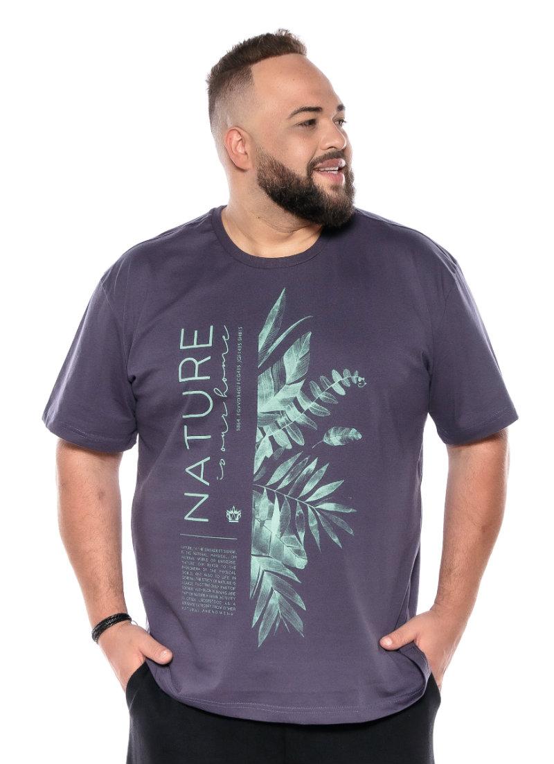 Camiseta plus size estampa New Nature Grafite