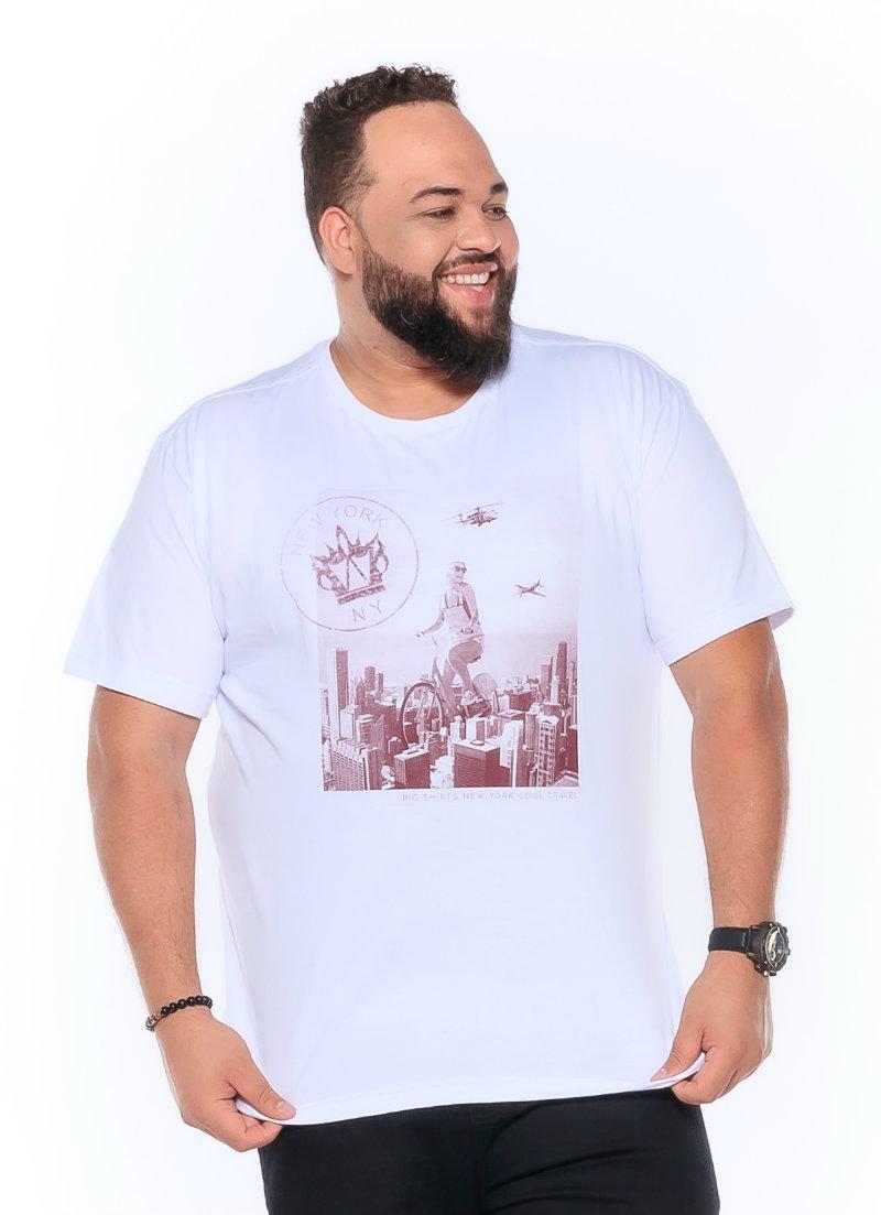 Camiseta plus size estampa New York Branca