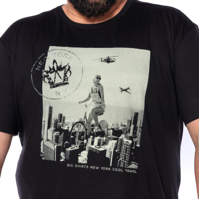 Camiseta plus size New York Preta