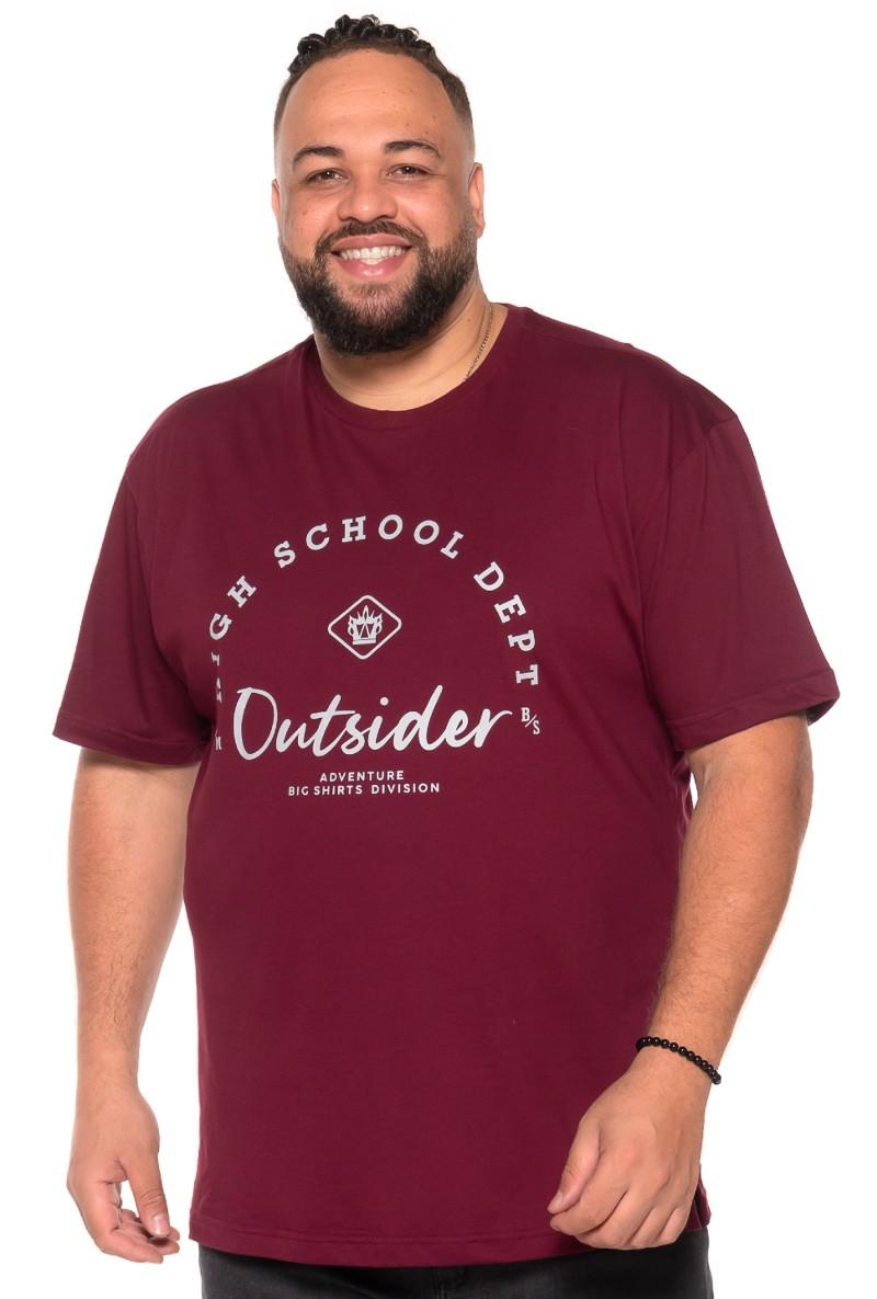 Camiseta plus size Outsider Vinho
