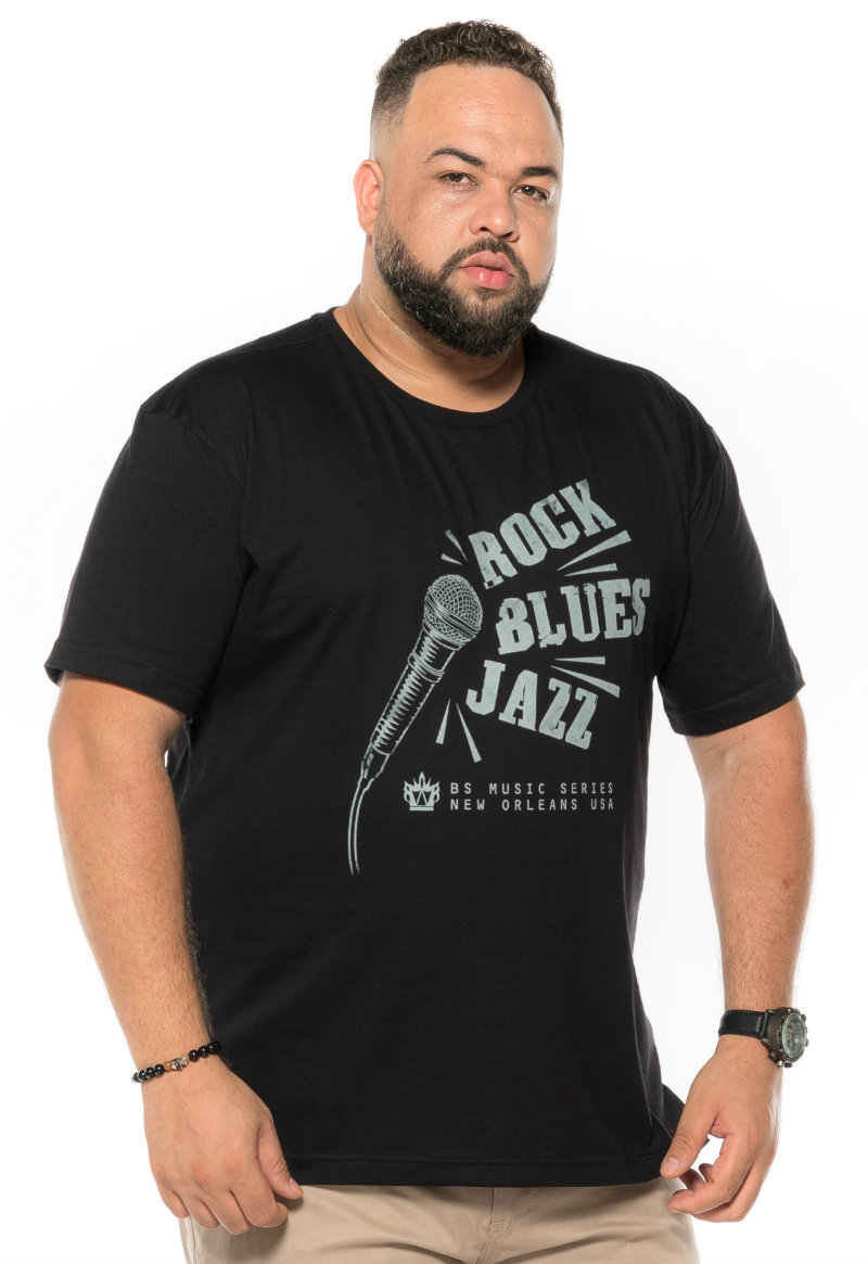 Camiseta plus size estampa Rock Preta