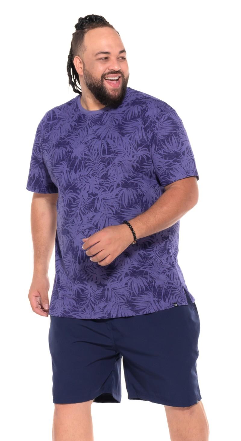 Camiseta plus size Floral Azul