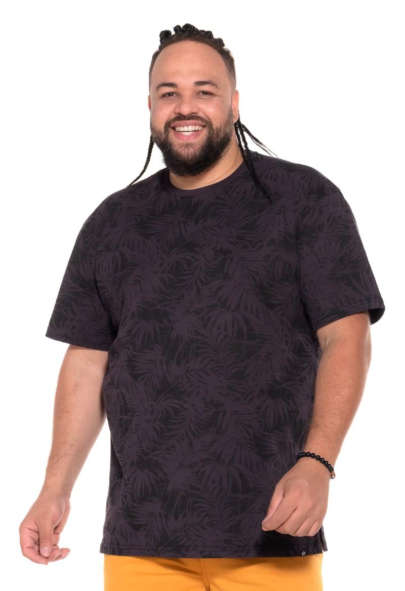Camiseta plus size Floral Preta