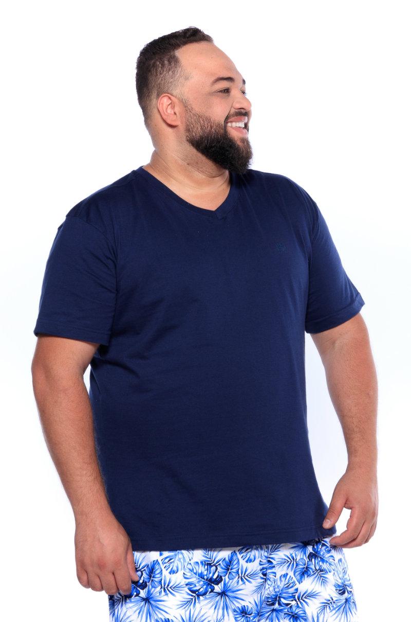 Camiseta plus size Lisa Gola V Azul Marinho
