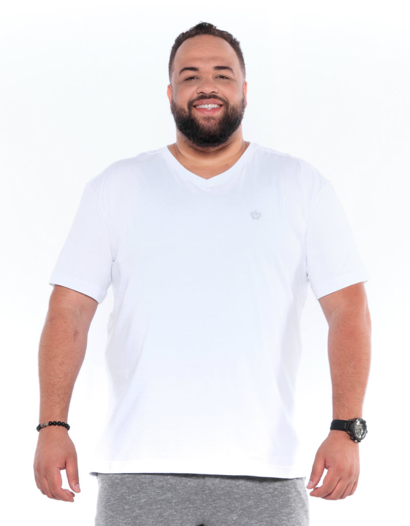 Camiseta plus size Lisa Gola V Branca