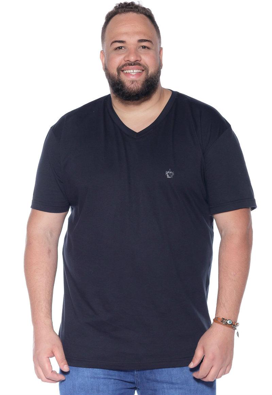 Camiseta plus size Lisa Gola V Preta