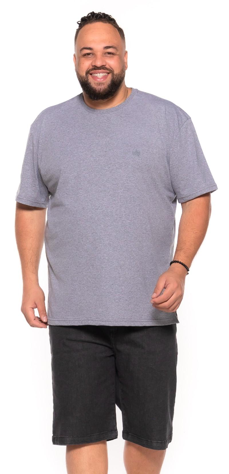 Camiseta plus size Cinza Mescla