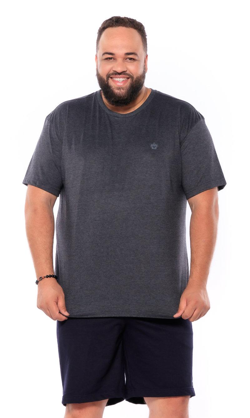 Camiseta plus size Lisa Mescla Escuro