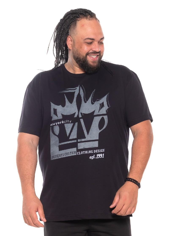 Camiseta plus size New 3D Preta