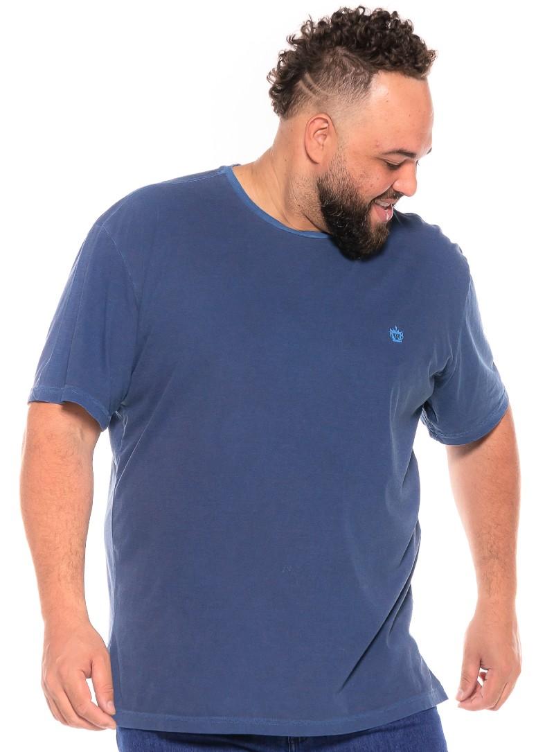 Camiseta plus size Stone Azul