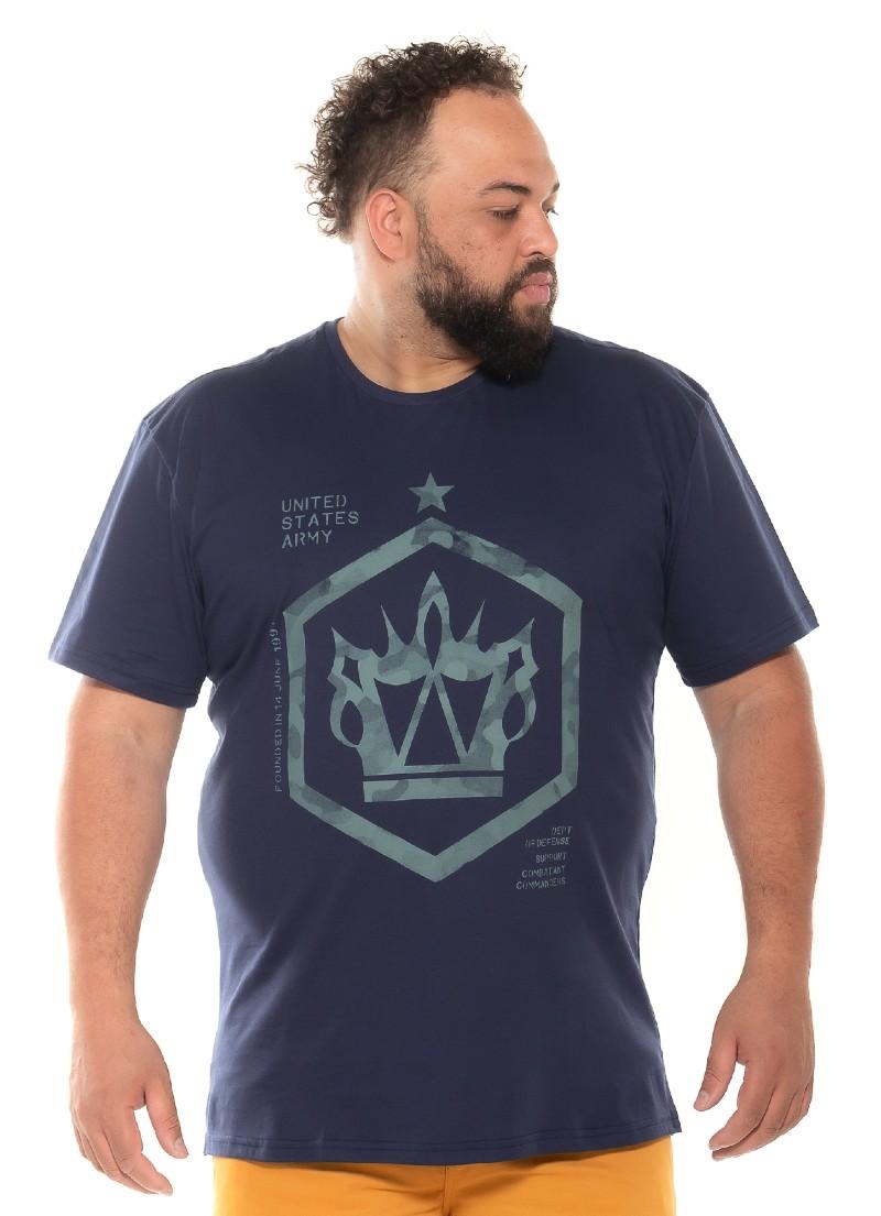 Camiseta plus size UsArmy Marinho