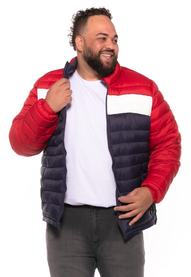 Jaqueta Gomo plus size Dupla Face Vermelha Listra