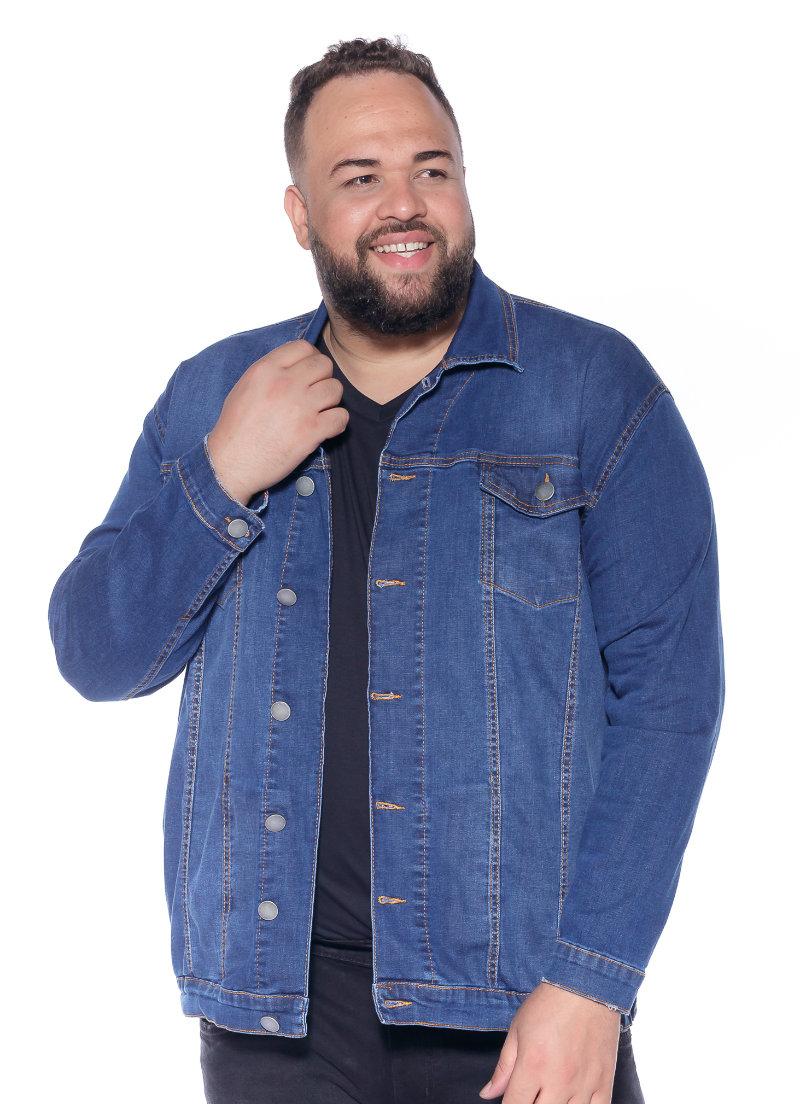 Jaqueta plus size Jeans Azul