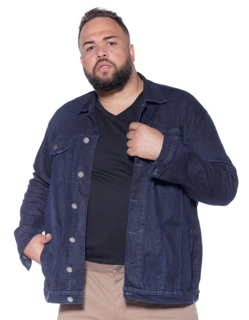 Jaqueta plus size Jeans Azul Escuro