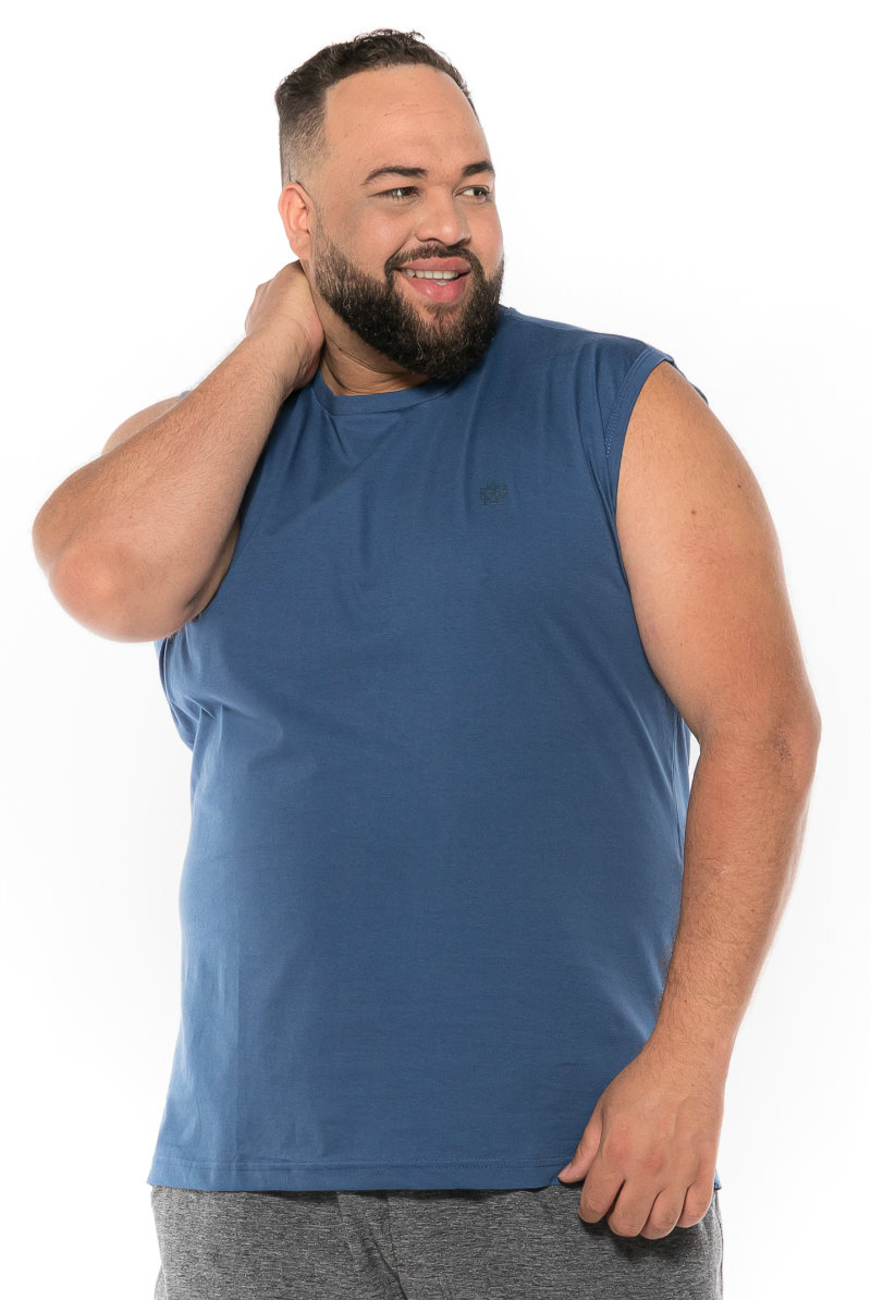 Regata Machão plus size Azul