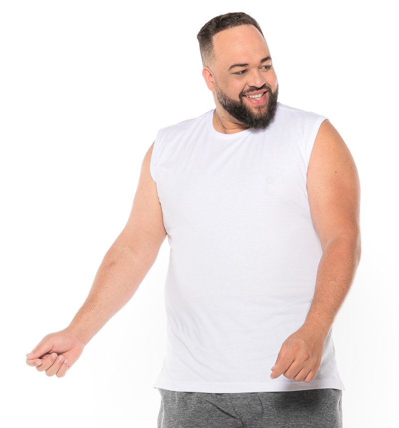 Regata Machão plus size Branca