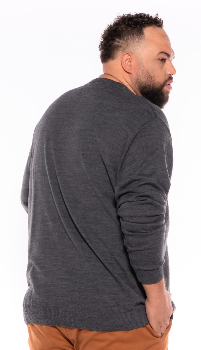 Malha Suéter plus size Cinza Mescla