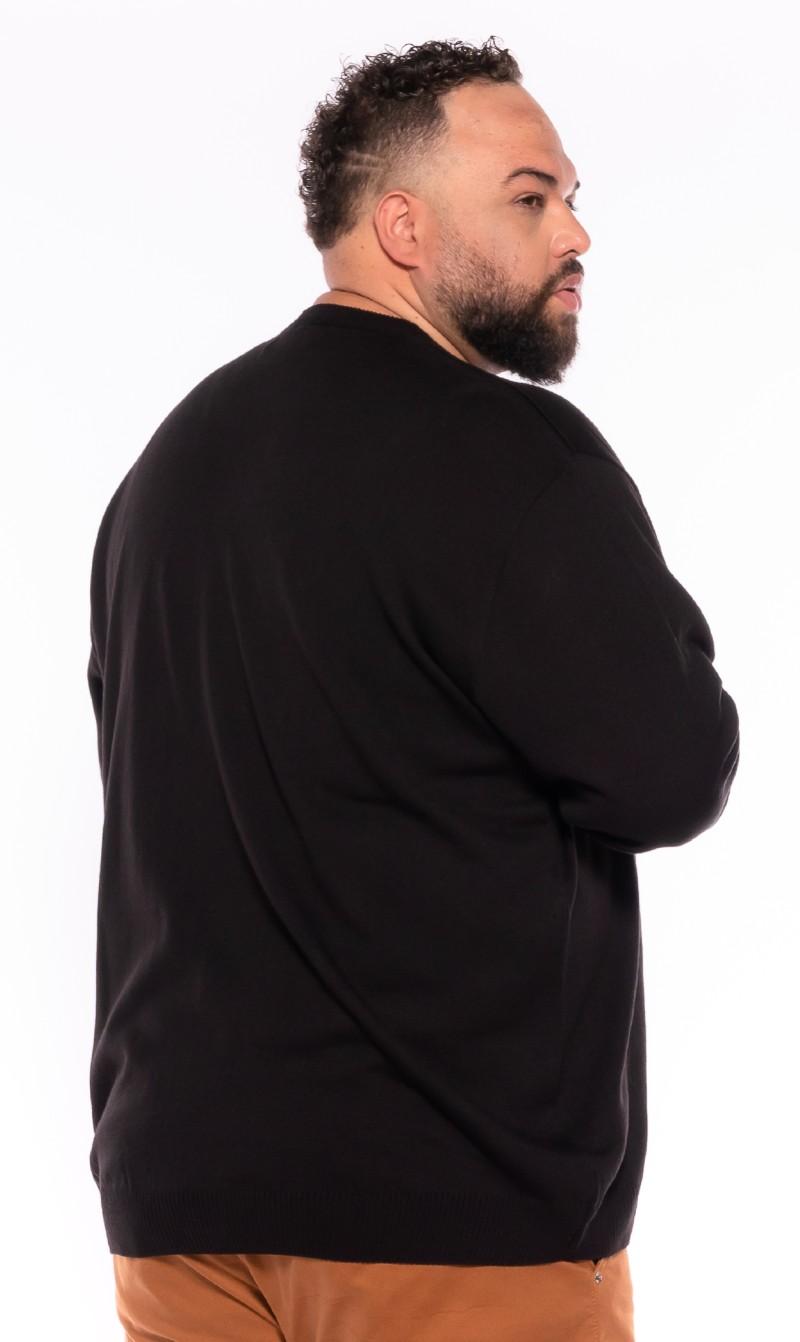 Malha Suéter plus size Preto