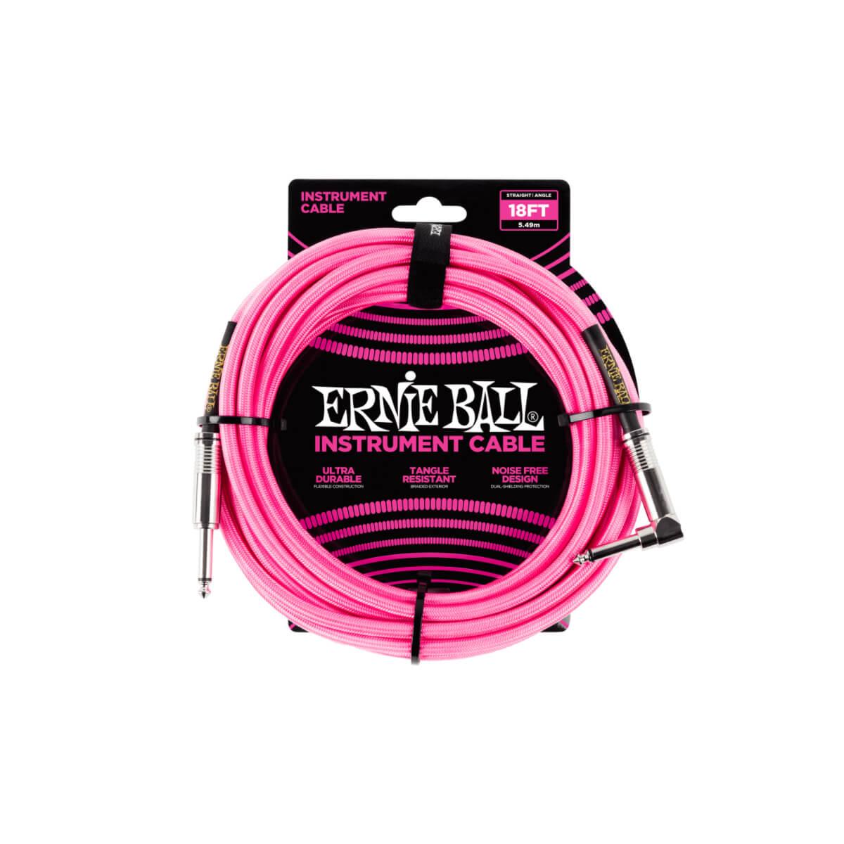 Cabo para Instrumento  (5,49 metros) Plug Reto/L Trançado Rosa Neon Ernie Ball  - GuitarParts Brasil
