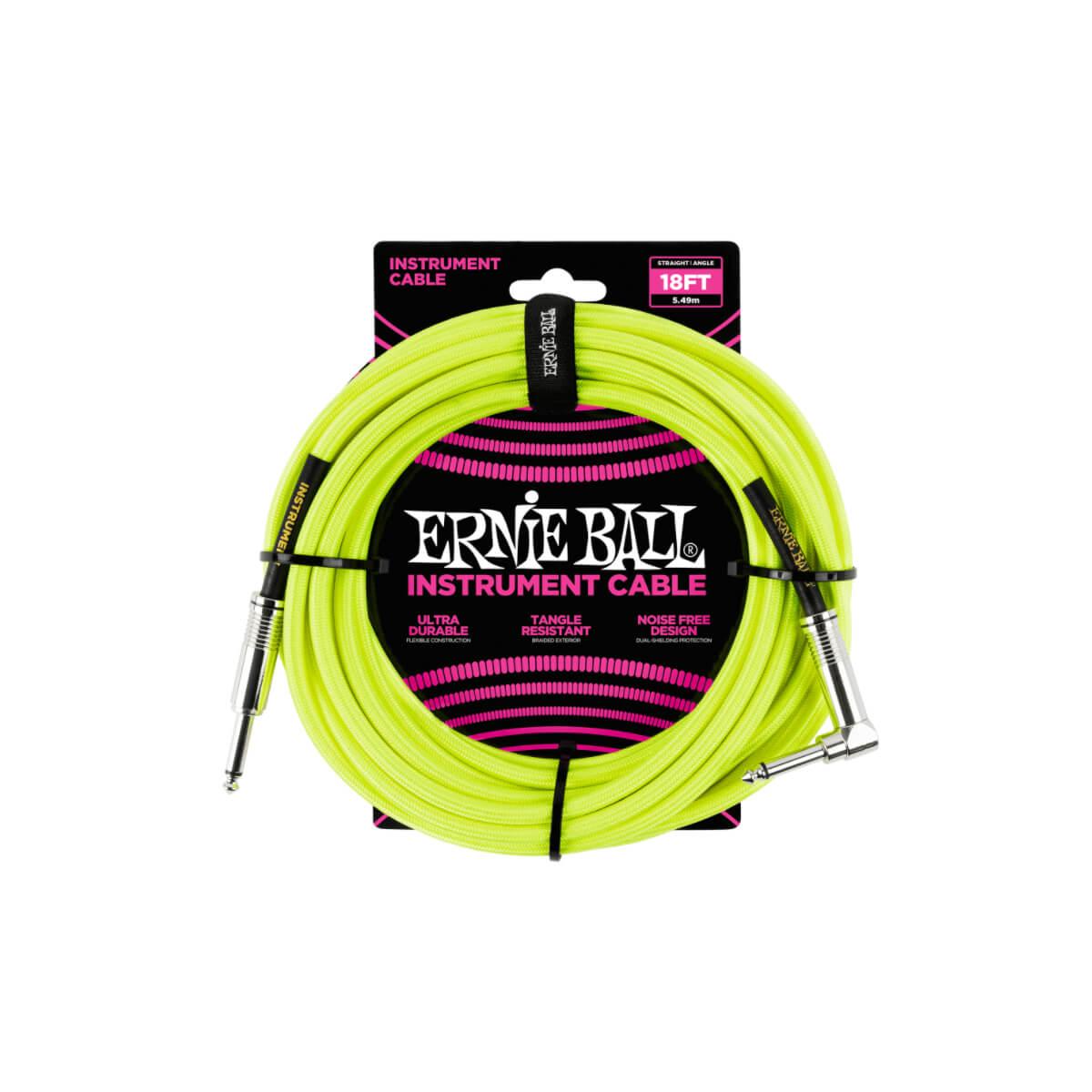 Cabo para Instrumento (5,49 metros) Plug Reto/L Trançado Amarelo Neon Ernie Ball