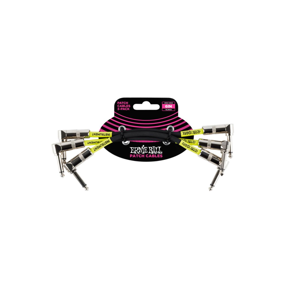 Cabo para Pedal/ Pedal (15,24cm) Plug L/L Preto – Pacote com 3 Ernie Ball