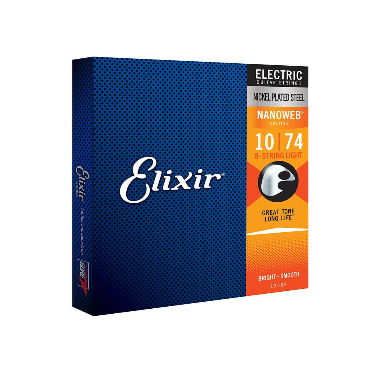 Encordoamento Elixir 010-74 Light Nanoweb Guitarra 8 Cordas  - GuitarParts Brasil