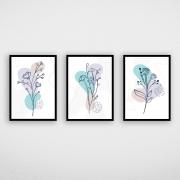 Conjunto de Quadros Flores Azul e Cinza
