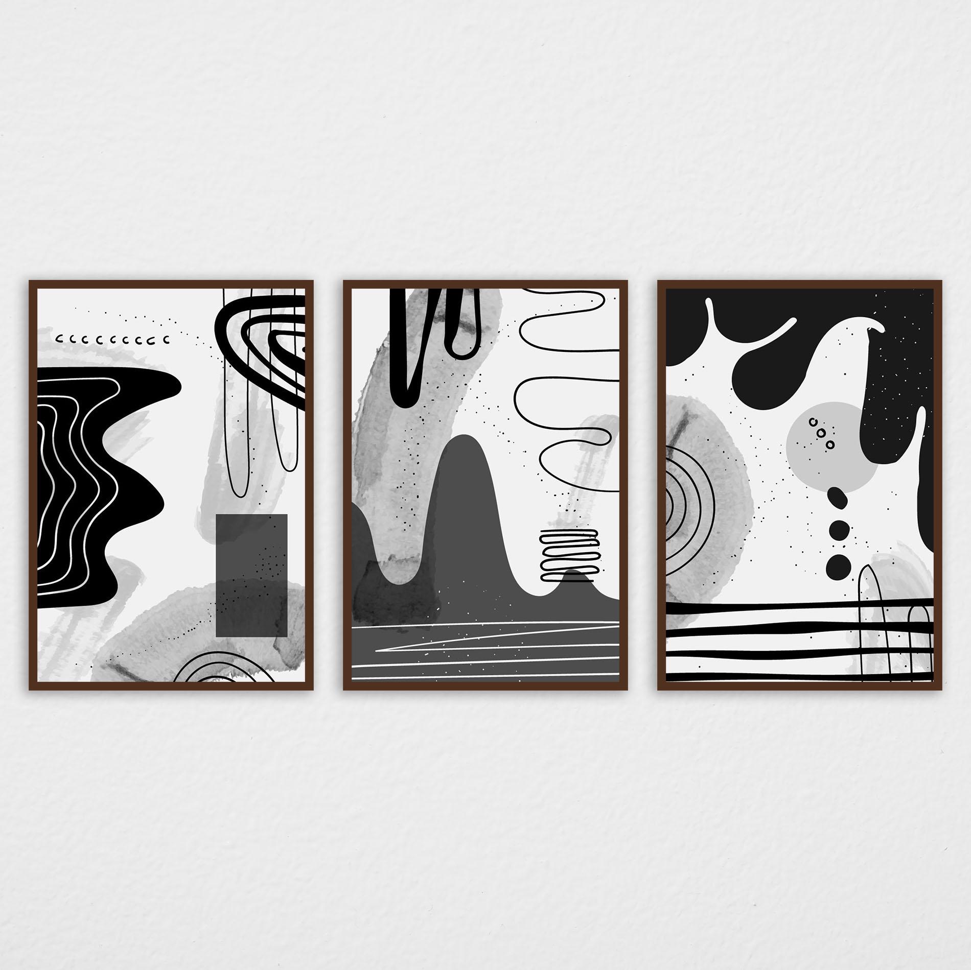 Conjunto de Quadros Abstratos Preto e Branco