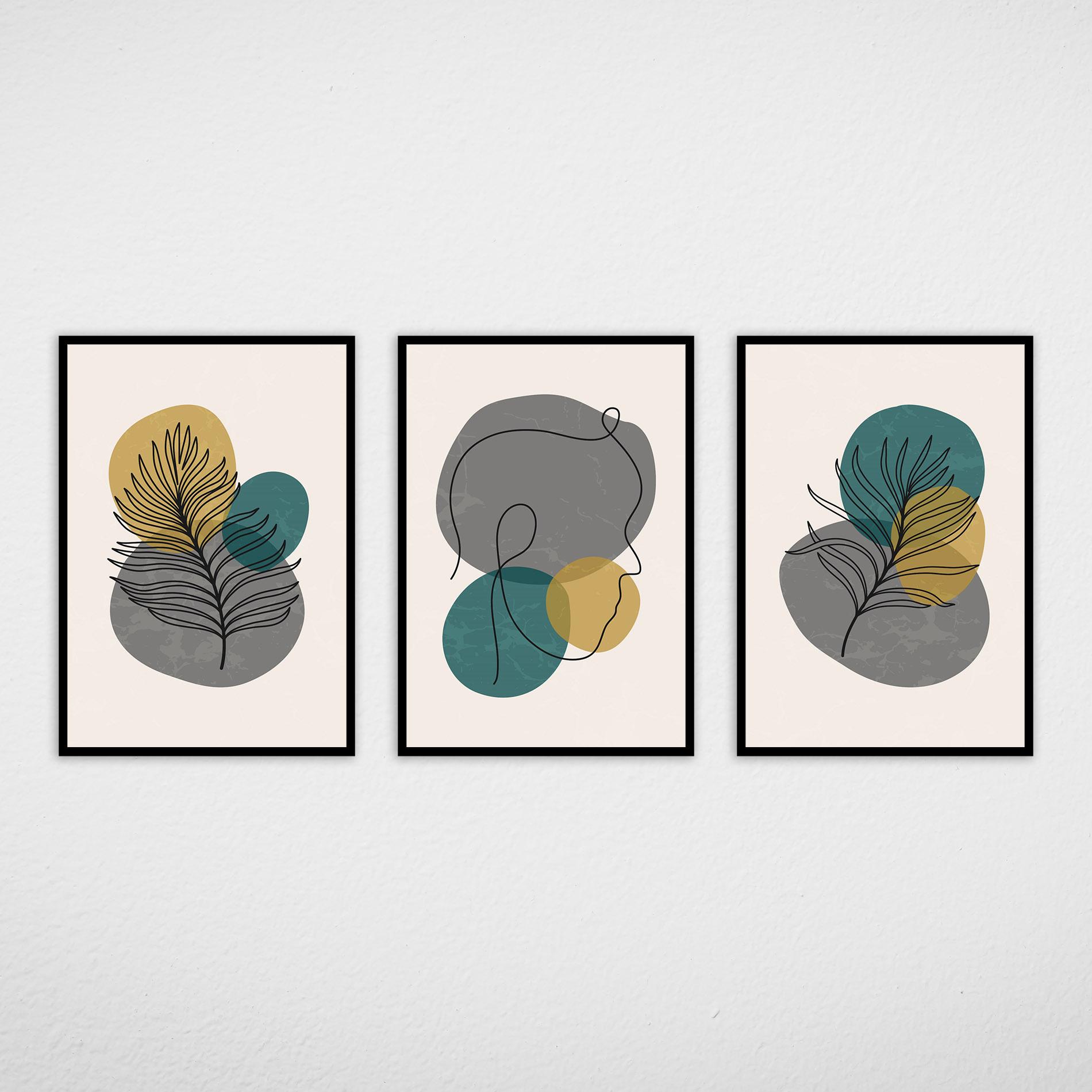 Conjunto de Quadros Rosto e Flores Cinzas