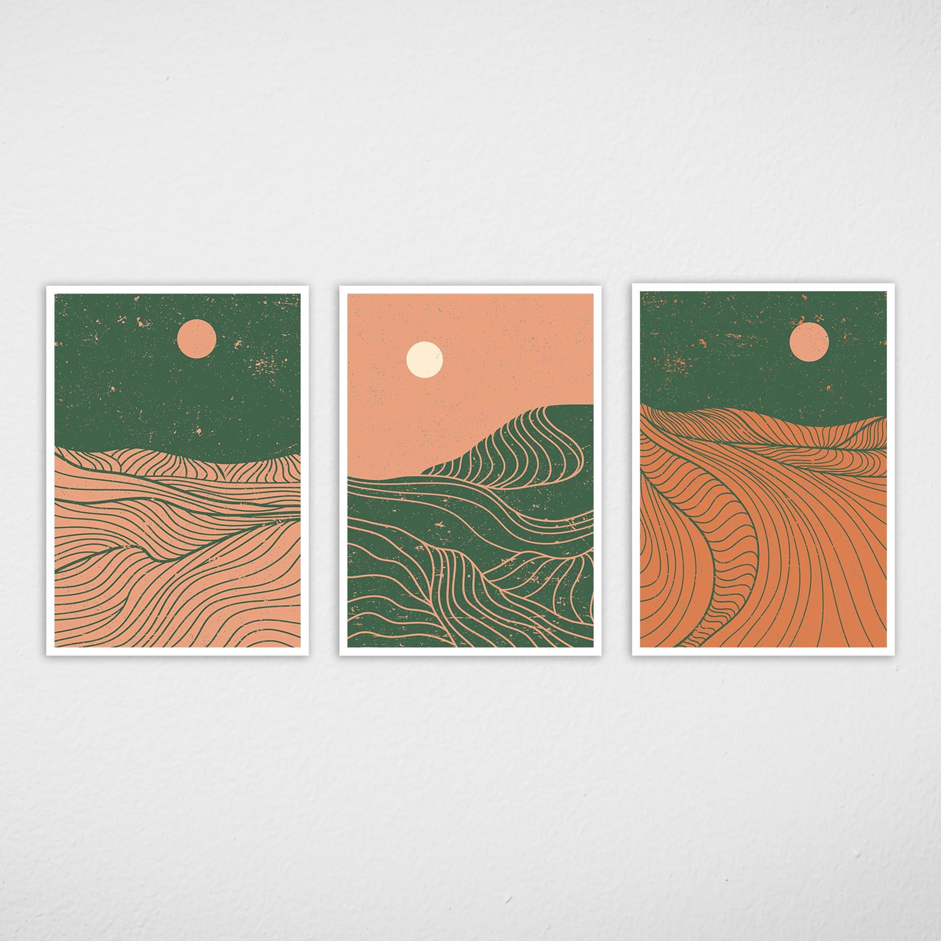 Conjunto de Quadros Montanhas Abstratas Verde e Salmão