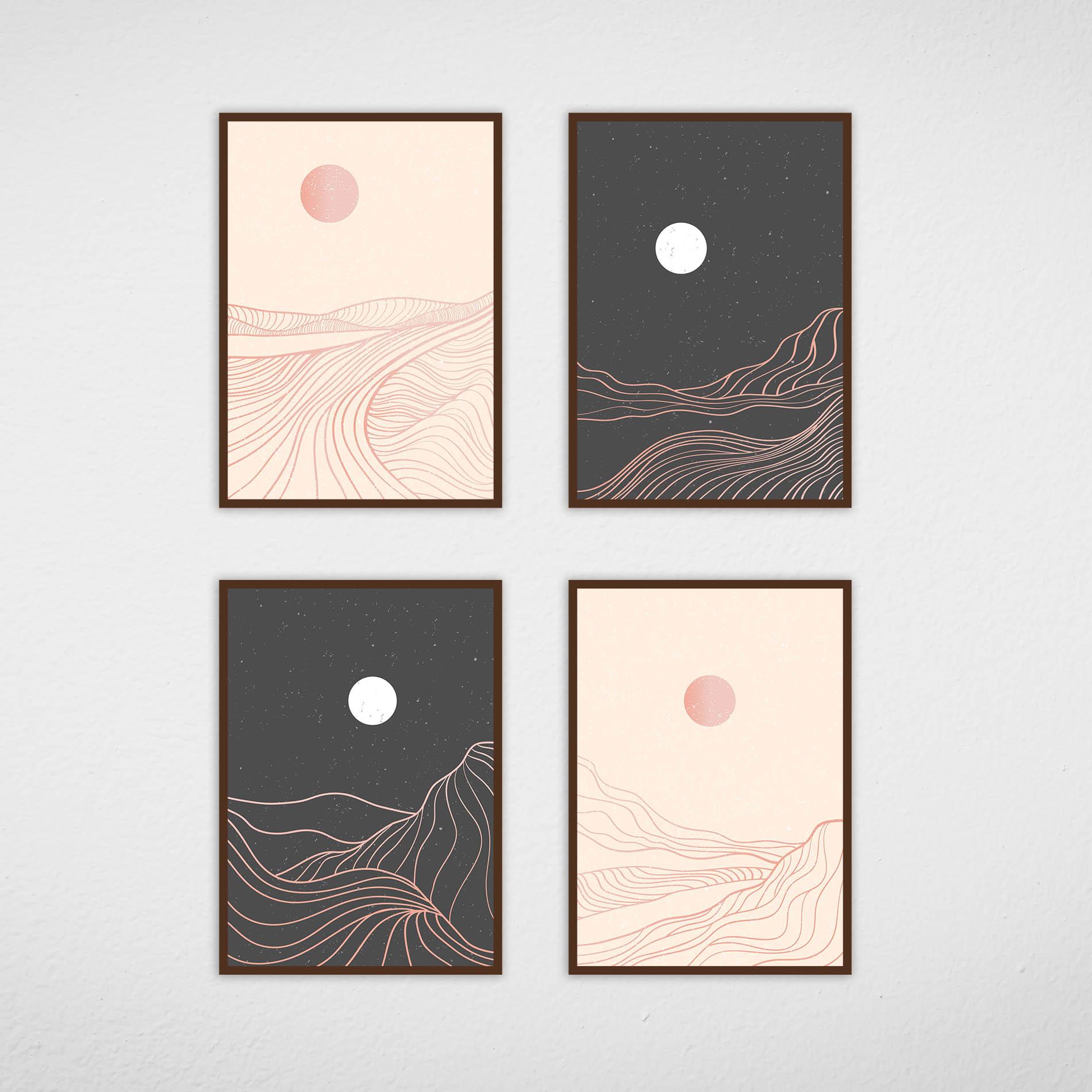 Conjunto de Quadros Montanhas Abstratas Preto e Rose
