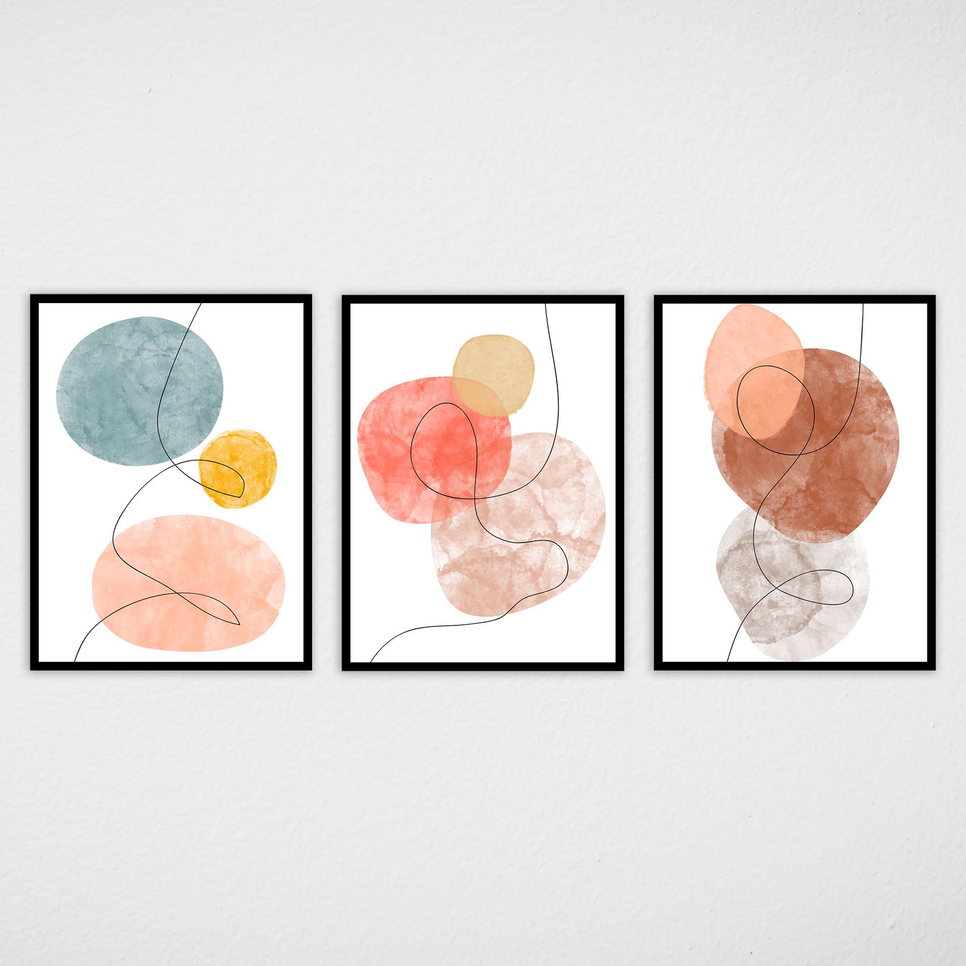 Conjunto de Quadros Abstratos Tons Terrosos