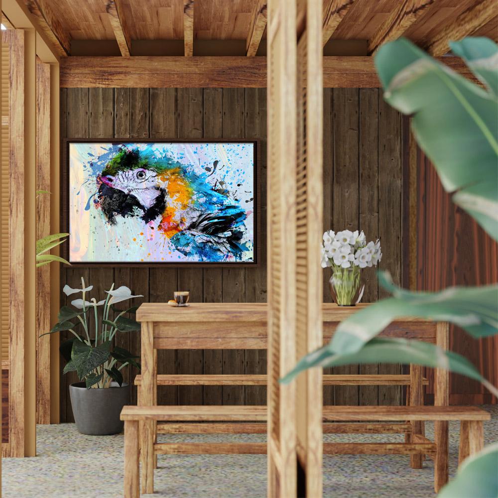 Quadro Arara Abstrata - Moldura Tradicional com Vidro