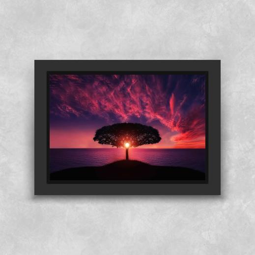 Quadro Árvore ao Sol - Moldura Tradicional com Vidro