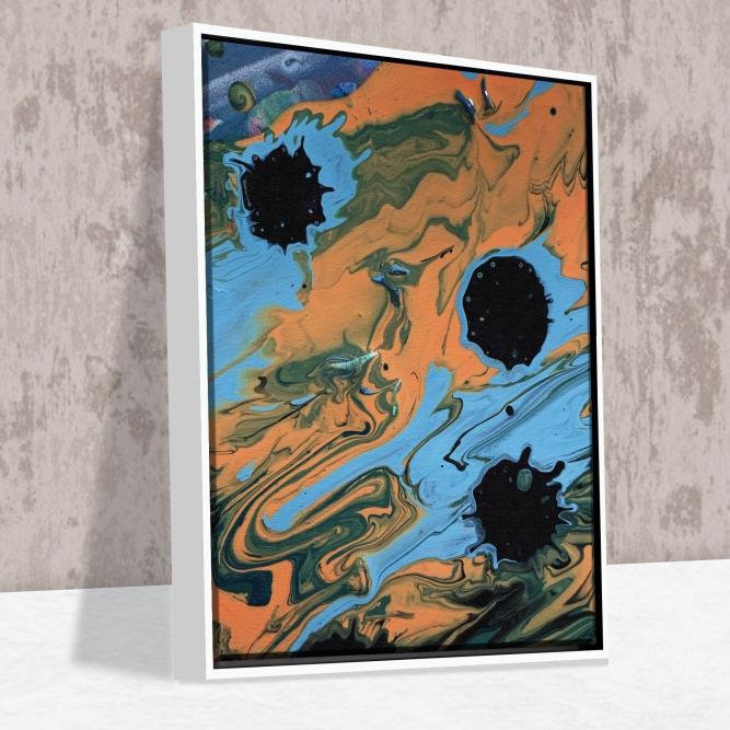 Quadro Buracos Abstratos - Moldura Canaleta