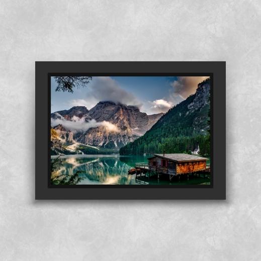 Quadro Casa no Lago - Moldura Tradicional com Vidro