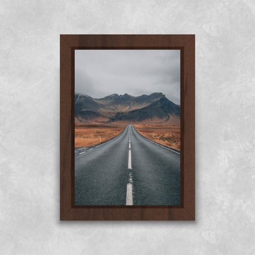 Quadro Estrada para Montanhas - Moldura Tradicional com Vidro