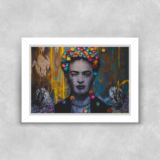 Quadro Frida Kahlo - Moldura Tradicional com Vidro