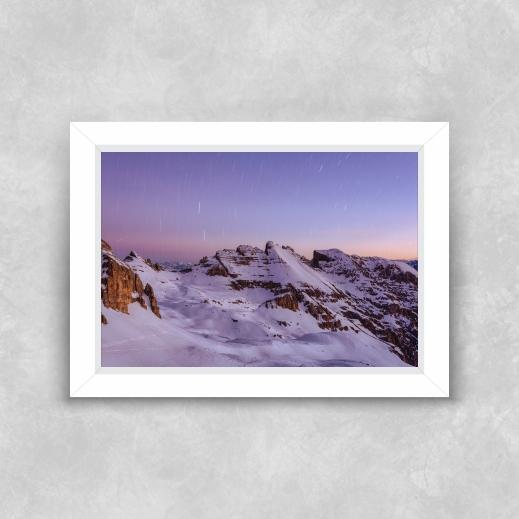 Quadro Montanha de Neve - Moldura Tradicional com Vidro