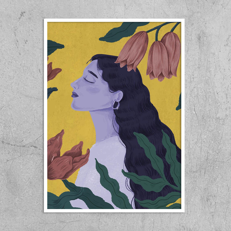 Quadro Mulher com Flores