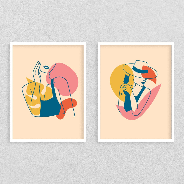Conjunto de Quadros Silhuetas Femininas Coloridas