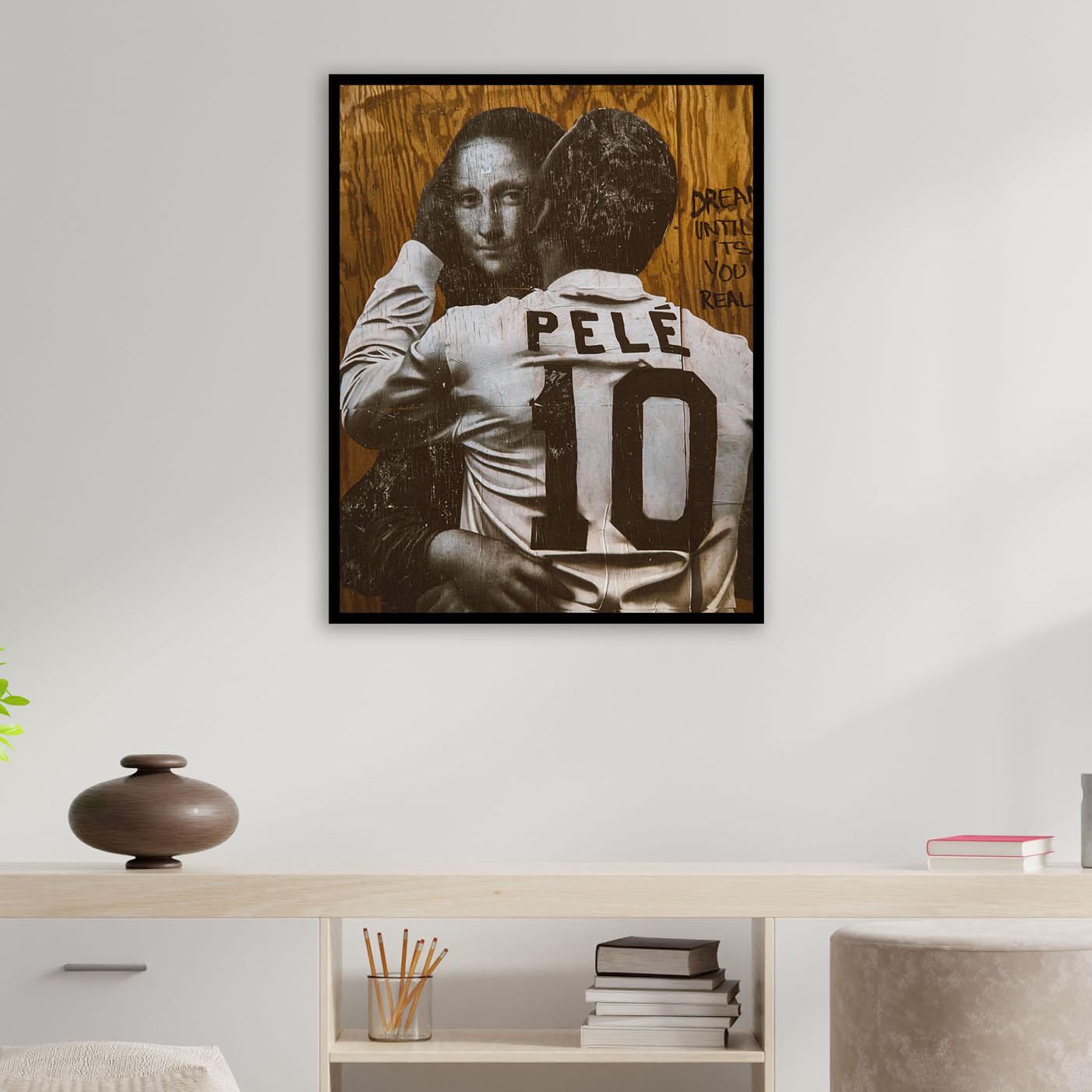 Quadro Pelé e Monalisa