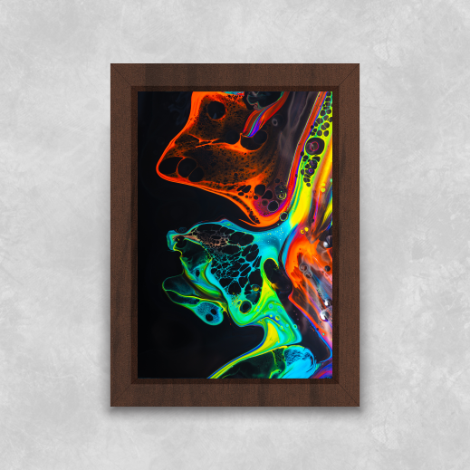Quadro Tinta Aquarela - Moldura Tradicional com Vidro